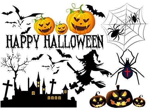 TOTOMO #W204 Happy Halloween Window Clings & Wall Decals Sticker Decoration for Store Kids Room Décor -