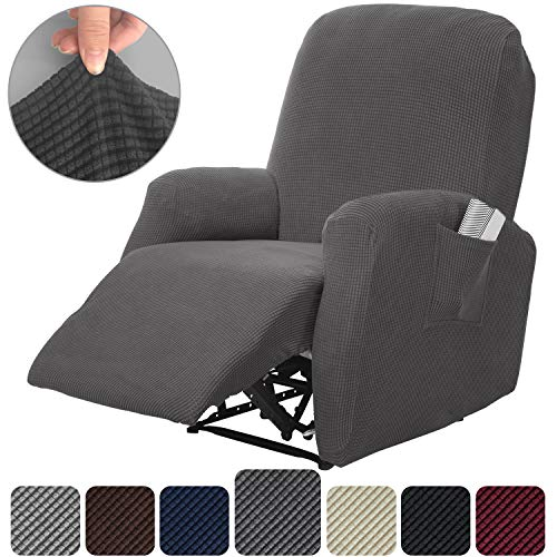 Rose Home Fashion RHF 4 Separate Piece Stretch Recliner Slipcovers, Recliner Chair Cover, Recliner Cover Furniture Protector Elastic Bottom, Recliner Slipcover with Side Pocket (Dark Grey-Recliner) (Furniture Discount Boy Lazy)