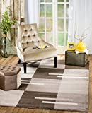 SUMMIT BY WHITE MOUNTAIN Rio 4T-LWSB-0NXQ Summit 301 Brown Beige Area Rug Modern Abstract Many Sizes Available (5′ x 7′.2″), 5′ x 7′.2″ For Sale