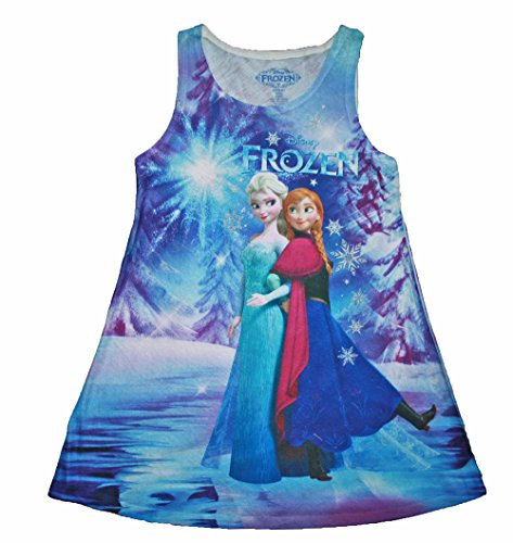 Disney Frozen Anna & Elsa Big Girls Sleeveless Lightweight Sublimated Dress (M (7/8)) -