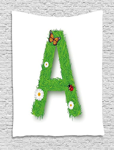 XHFITCLtd Letter A Tapestry, Fresh My Name Style Capital A with Eco Spring Elements Animal Wings Blooms, Wall Hanging for Bedroom Living Room Dorm, 60 W X 80 L Inches, Green Multicolor by XHFITCLtd