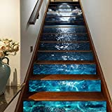 """FLFK 3D Bright Moon Light on The Sea Self-Adhesive Stair Stickers Stair Riser Stickers Wall Murals Home Decor 39.3"""" w x…"""