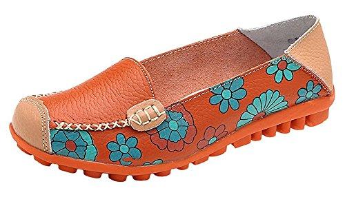 Oriskey Damen Mokassin Bootsschuhe Leder Loafers Schuhe Flache Fahren Halbschuhe Sandalen  40 EUSchwarz