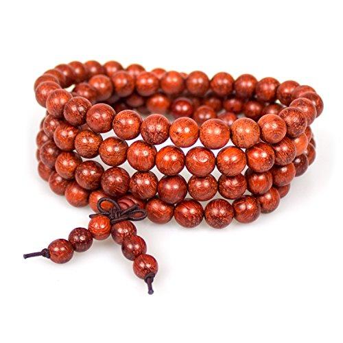 Mala Beads,8mm Natural Cat's Eye Sandalwood Buddhist Prayer 108 Beads Tibetan Chinese Knot Wrap Bracelet Necklace(Cat's Eye Sandalwood)