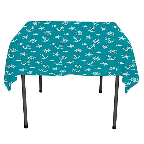 Mahogany Highboy - Flyerer Nautical Table Cloth Cover Ocean Creatures Silhouettes Fish Starfish Helm on Vivid Background Sailing Theme Teal White Printed Tablecloth Rectangle Tablecloth 60 by 120 inch