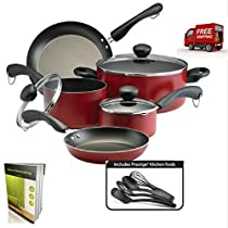 Non Stick Cookware Set Of 12 Pieces For Everyday Use, Red Colored, Aluminum And E-Book By tsr