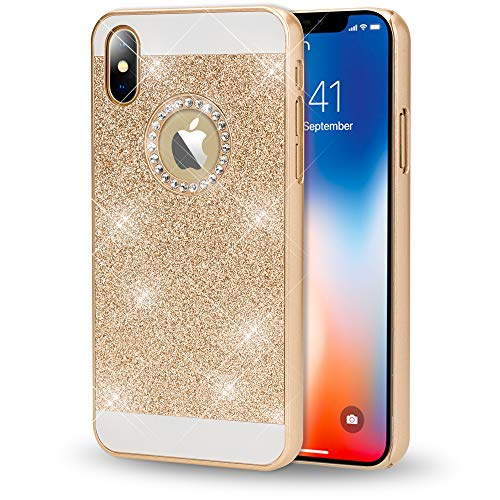 NALIA Hard-Case for iPhone X XS, Sparkly Mobile Phone Back-Cover Ultra-Thin Skin Protector Sparkle Glitter Shock-Proof Bumper Slim-Fit Protective Bling Backcase for Apple i-Phone XS X, Color:Gold