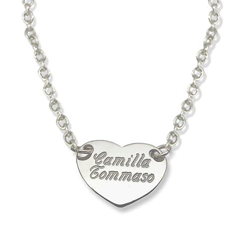 orologio b27c6 0f85a Collana con ciondolo cuore, incisione personalizzata, incidi il tuo nome.  Argento 925/1000