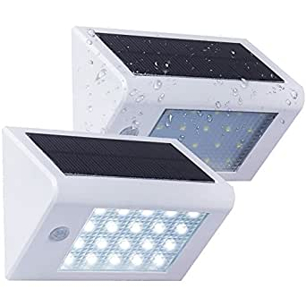 HUANLEMAI Solar Lights 20 LED Wall Light Motion Sensor Activated Auto On/Off Waterproof Outdoor Security Lighting Path Nightlight for Garden Patio Lawn Yard Fence Deck Driveway Pool (White 2 Pack)
