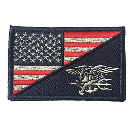 Tactical USA Flag/Navy Seals Patch Team Navy Trident Embroidered Applique