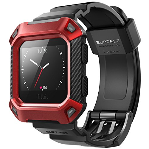 SUPCASE Fitbit Blaze Bands with Protective Case, [Unicorn Beetle Pro] Rugged Case Strap Bands for Fitbit Blaze Fitness Smart Watch (Red) from SUPCASE