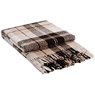 "Luxury Wool Blanket 55""x79"" by CG Home - Super Warm and Soft Brown Blanket for Cozy Fall and Winter Days -Tartan Plaid Throw Blanket Accents Any Home Décor by CG Home"