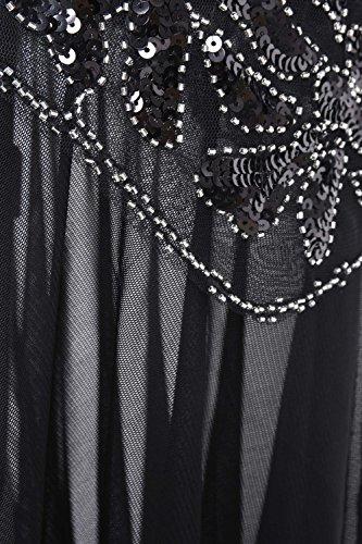 0f457e78d42cb9 PrettyGuide Women 's 1920s Black Sequin Gatsby Maxi Long Evening Prom Dress,  Black –