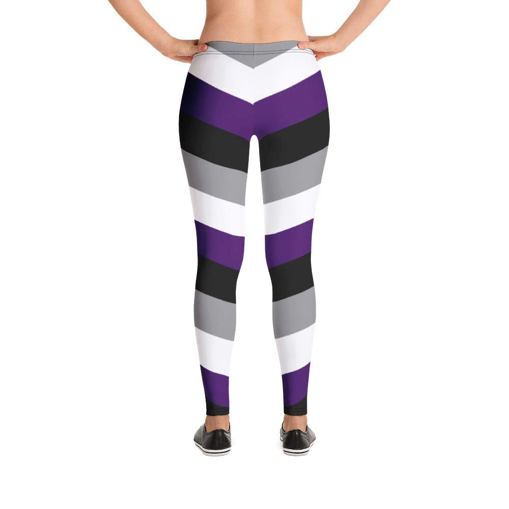 d4433df8f3fae G33k Chic Asexual Pride Striped Leggings (Black, Gray, Purple, White) at  Amazon Women's Clothing store:
