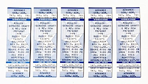 - Buddy Guy FIVE (5) UNUSED Concert Tickets 1995 Cains Ballroom