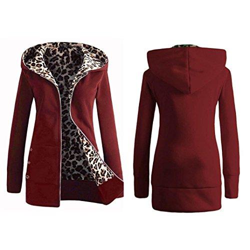 Mujeres más Abrigo Sudadera Rojo Outwear Leopard Abrigo Capucha Calentar FAMILIZO Con Vino Invierno gruesa RawxHFqwg