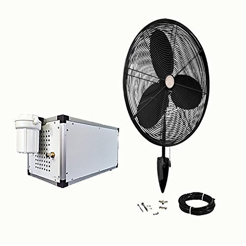 """Misting Fan Kit - 24 Inch High Velocity Outdoor Fans - With 1500 PSI High Pressure Misting Pump - Stainless Steel Ring- (1 - Fan 24"""" OSC Black)"""