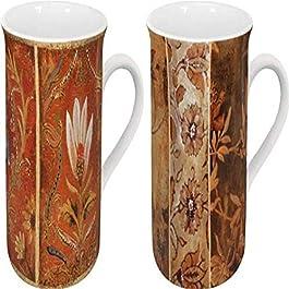 Konitz 2 Lotus Flower and 2 Flowers Tapestry Mugs, Set of 4
