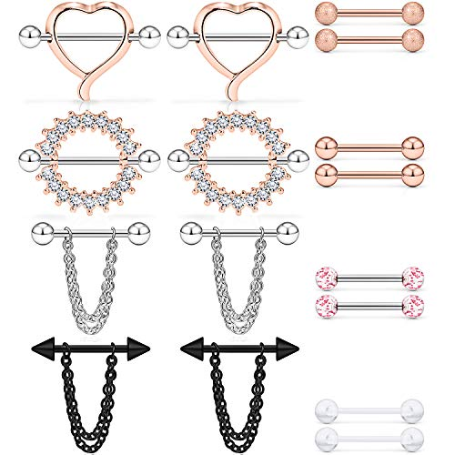 Dyknasz 316L Surgical Steel Chain Dangle Nipple Shield Rings Nipplering Barbell Piercing Jewelry for Women Men 14G 8 Pairs Externally Threaded Ball Spike Rose Gold Clear Diamond CZ