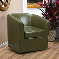 Christopher Knight Home 296638 Daymian Faux Leather Swivel Club Chair, Tea Green