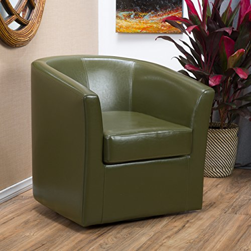 Christopher Knight Home Daymian Faux Leather Swivel Club Chair, Tea Green (Swivel Room Living Chairs For Leather)