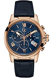 Guess Collection Men's Esquire Blue Leather Band Steel Case Sapphire Crystal Quartz Analog Watch Y08003G7