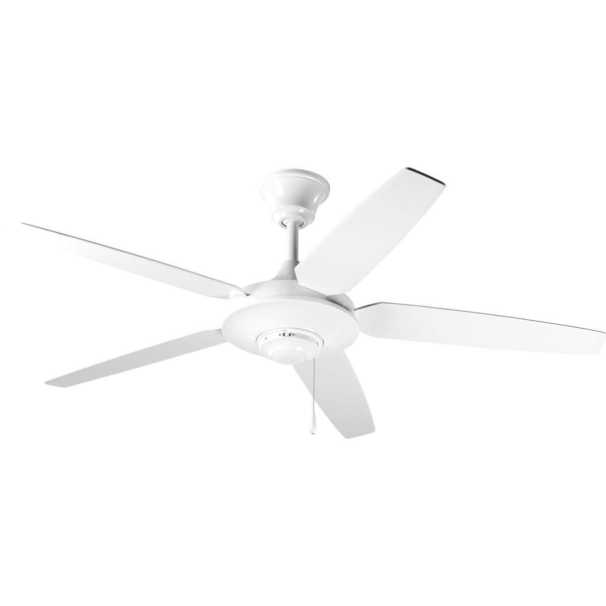 White Progress Lighting P2530-09 54-Inch 5 Star Fan with Reversible Silver Natural Cherry Blades, Brushed Nickel