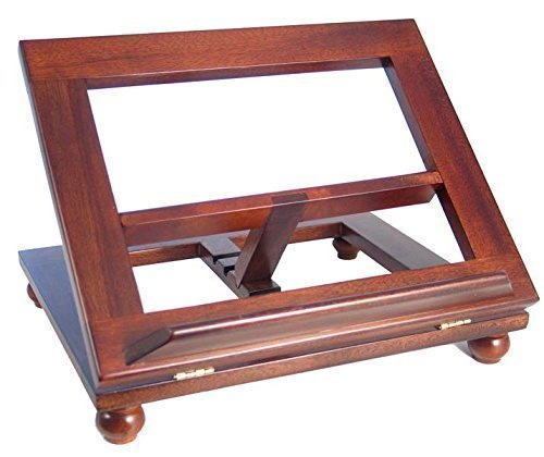 Dark mahogany wood bible book stand 16 by 10 adjustable table top by Shalom by Shalom