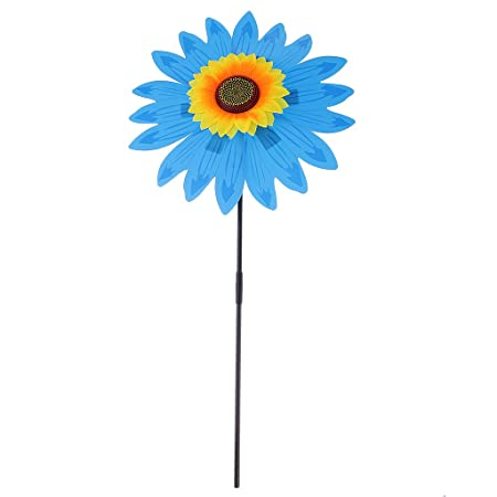 Zanny 36cm DIY Sunflower Windmill Pinwheel Kids Outdoor Camping Beach Toy Home Garden Yard Decor Blue