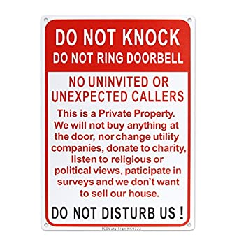 do not knock do not ring doorbell do not disturb sign uv protected