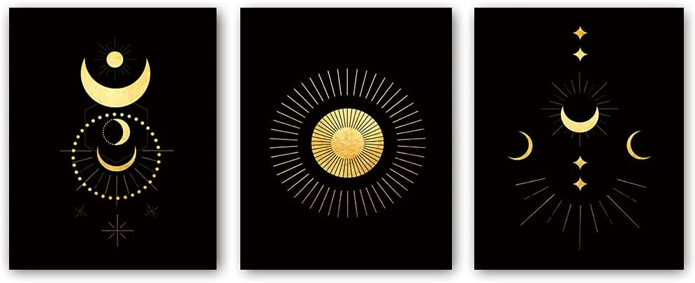 Occult yellow and Black Prints Abstract Sun and Moon Wall art Prints, Occult Black Prints ,Set of 3 Boho Posters and Painting Moon Wall Art Modern Decor (Unframed 8x10 Inch)