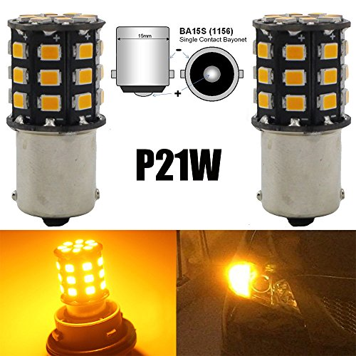 AMAZENAR 2-Pack 1156 BA15S 1141 1073 7506 1003 Car Turn Signal Lights Bulbs - 12V-24V Extremely Bright Amber/Yellow 2835 33 SMD LED Light Bulb - Replacement for Tail Blinker LED Bulb Light