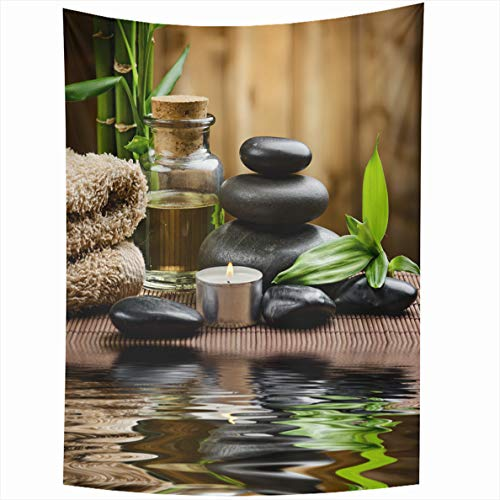 (Ahawoso Tapestry 60x80 Inches Black Green Ayurveda Zen Basalt Stones Spa Oil On Wood Massage Candle Paris Wall Hanging Home Decor Tapestries for Living Room Bedroom Dorm)