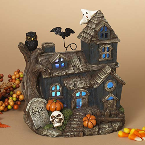 One Holiday Way LED Lighted Halloween Village Haunted House with Skull, Pumpkins, and Ghost - Tabletop Halloween Decoration