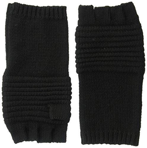 Mens John Varvatos Cashmere - John Varvatos Star U.S.A Men's Wool/Cashmere Blend Ottoman Stitch Fingerless Glove, Black, One Size