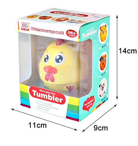 Wanrane Cute Kids Roly-Poly Toy Cartoon Safe Baby Adorable Kitten Cat Rattle Sound Puzzle Tumbler Educational Toys(Yellow)