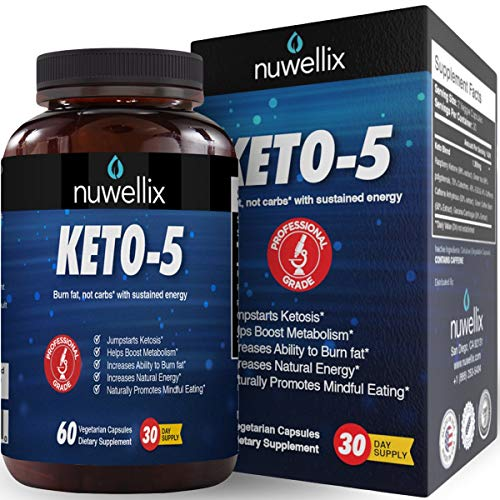 60 Fast Capsules - Nuwellix Keto 5 Diet Pills for Men and Women - Advanced Ketogenic Supplement with Green Tea - Promotes Fat Burn - Helps in Fast Weight Loss - 60 Vegetarian Capsules