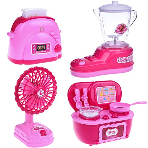 Assorted Kitchen Appliance Toys for Girls, Play Kitchen Accessories for Kids (Play Pretend Toaster)