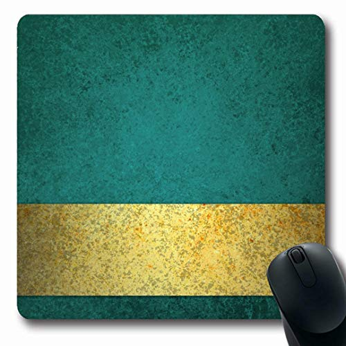 Ahawoso Mousepads Fancy Green Blue Teal Gold Ribbon Stripe Title Vintage Yellow Announce Announcement Antique Blank Oblong Shape 7.9 x 9.5 Inches Non-Slip Gaming Mouse Pad Rubber Oblong Mat (Yellow Ribbon Mouse Pad)