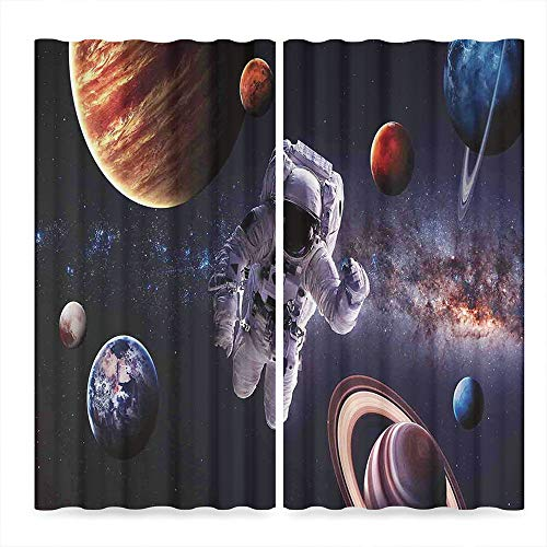 - YOLIYANA Outer Space Decor Bedroom Blackout Curtains,Astronaut Between Planets Mars Neptune Jupiter Plasma Ethereal Sphere Picture,Living Room Bedroom Décor, 2 Panel Set,37W X 51L Inches