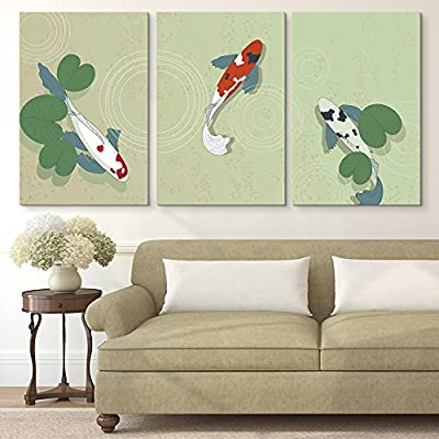 Incredible Creative Design, 3 Panel Hand Drawn Colorful Goldfish in The Pond x 3 Panels, That You Will Love