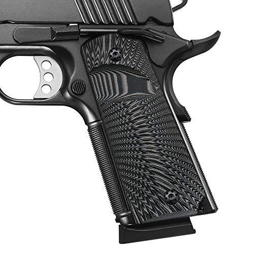 Cool Hand 1911 Full Size G10 Grips, Big Scoop, Ambi Safety Cut, Sunburst Texture, Gun Metal Color