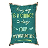Polyester Throw Pillow Cushion Cover,Lifestyle,Every Day is a Chance to Change Your Opportunities Quote Retro Poster Print,Jade Green Tan,Decorative Square Accent Pillow Case