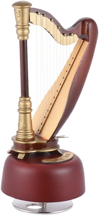 Caja de música clásica en forma de arpa Ammoon, a cuerda, con base musical giratoria, réplica en miniatura del instrumento, regalo: Amazon.es: Instrumentos musicales