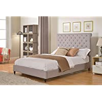 Home Life Cloth Light Grey Silver Linen 51 Tall Headboard Platform Bed with Slats Full - Complete Bed 5 Year Warranty Included 008
