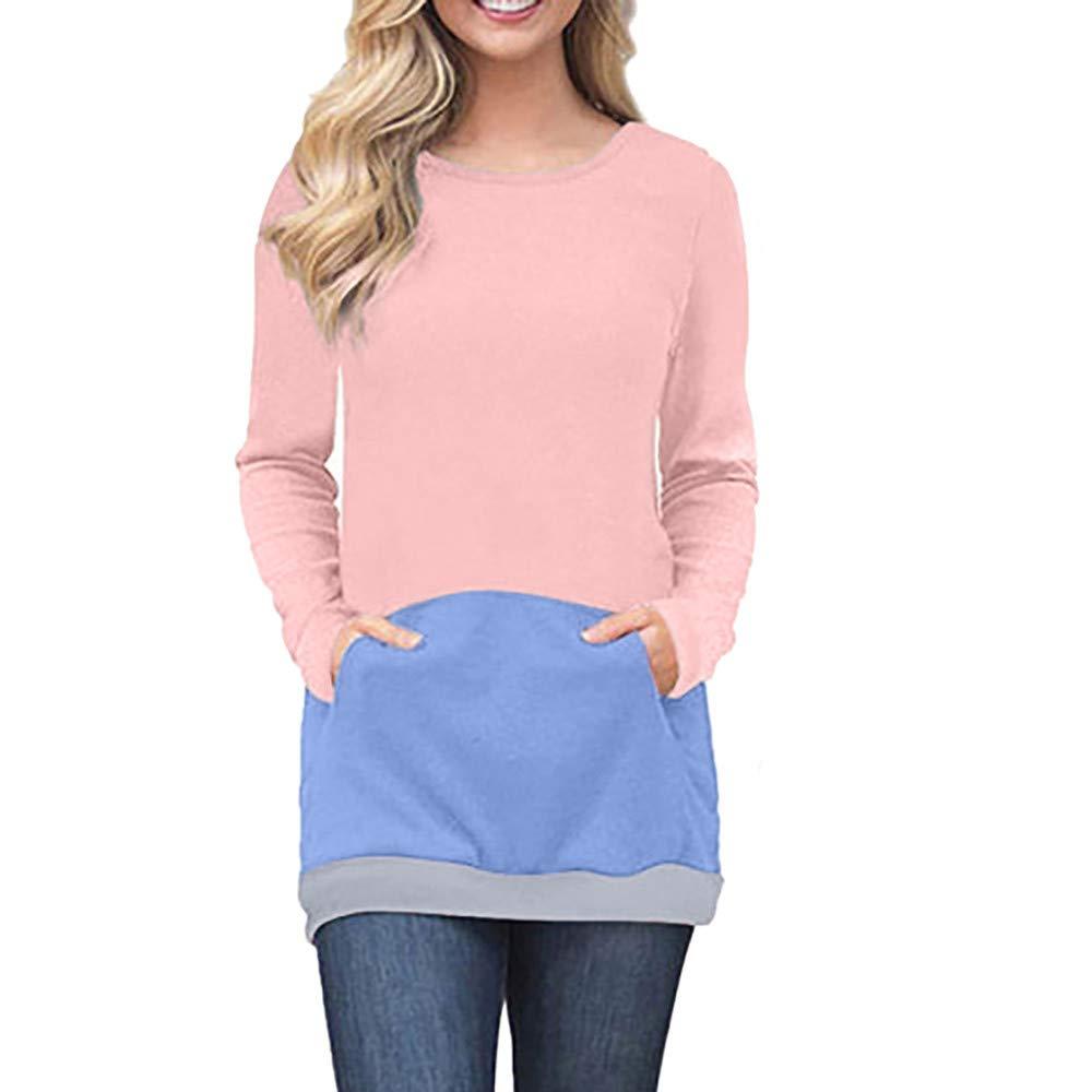 Women Patchwork Blouse, Sttech1 Casual Long Sleeve Pullover Blouse Sweatshirt Tops