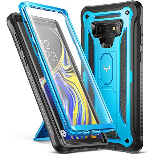 Cover Case Protector Blue (YOUMAKER Kickstand Case for Galaxy Note 9, Full Body with Built-in Screen Protector Heavy Duty Protection Shockproof Rugged Cover for Samsung Galaxy Note 9 (2018) 6.4 Inch - Blue)