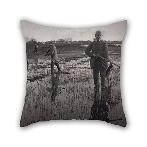 16 X 16 Inches / 40 By 40 Cm Oil Painting Peter Henry Emerson - Snipe Shooting From The Series Life And Landscape On The Norfolk Broads, 1886, Plate X Cushion Covers Twin Sides Is Fit For Boys Bar