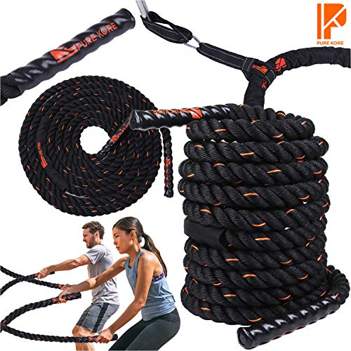 chor Strap Kit -100% PolyDac Heavy Battle Rope - Perfect Exercise Rope for Men and Women - 30ft Total Body Workout Rope ()