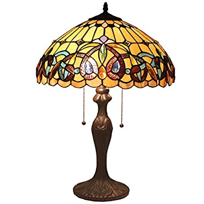 Bieye L11413 Tiffany Style Stained Glass 16-inch Victorian Table Lamp with 2-Light Zinc Base, 22-inch Tall